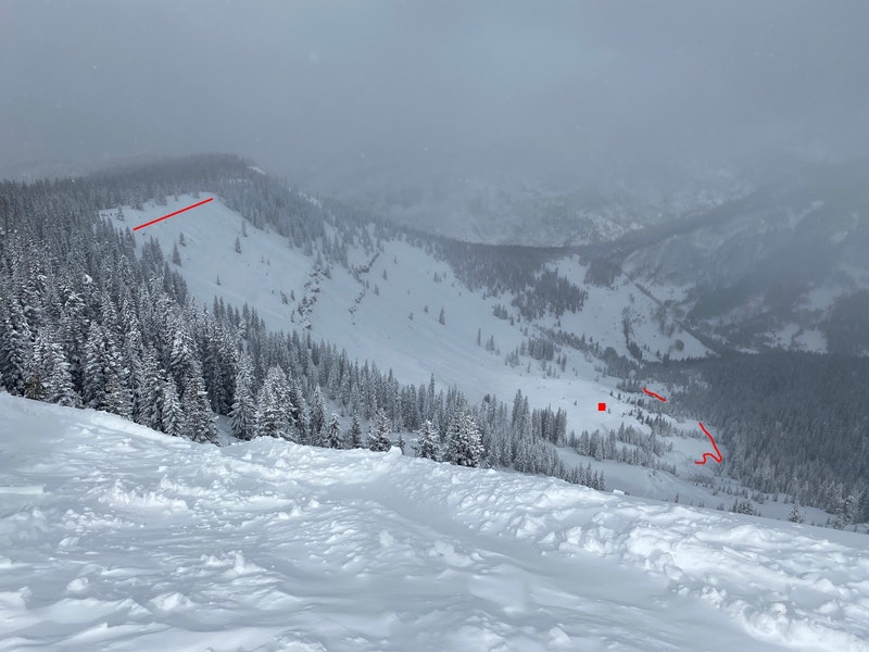 <b>Figure 3:</b> Looking north at the Marvin slide path from Benchmark. The red lines mark the approximate location of the crown face and the toe of the avalanche. The red square marks the approximate location of Skier 1. (<a href=javascript:void(0); onClick=win=window.open('https://caic-production.imgix.net/x3ku0uyx6h8fmoq0wfg1n38rz2u6?ixlib=php-3.1.0&s=ef6ce5d0d7f81943d4c5518c9482dd26','caic_media','resizable=1,height=820,width=840,scrollbars=yes');win.focus();return false;>see full sized image</a>)