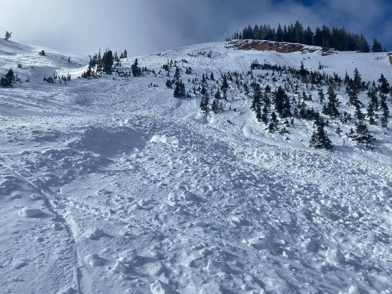 <b>Figure 2:</b> Photo of the entire avalanche path from the bottom, looking upwards from the debris. (<a href=javascript:void(0); onClick=win=window.open('https://caic-production.imgix.net/xagro3klm5t9bjlado8t63zs79ly?ixlib=php-3.1.0&s=29285fde75d6caa2c8612913f69b4bbc','caic_media','resizable=1,height=820,width=840,scrollbars=yes');win.focus();return false;>see full sized image</a>)