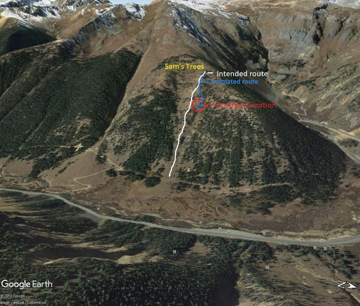 <b>Figure 11:</b> Google Earth image of accident location, planned, and estimated decent. (<a href=javascript:void(0); onClick=win=window.open('https://caic-production.imgix.net/xrjzr78jqaiolm4ft255hdyb1v89?ixlib=php-3.1.0&s=b42e1105474ca1db8d913452ac48bc8f','caic_media','resizable=1,height=820,width=840,scrollbars=yes');win.focus();return false;>see full sized image</a>)