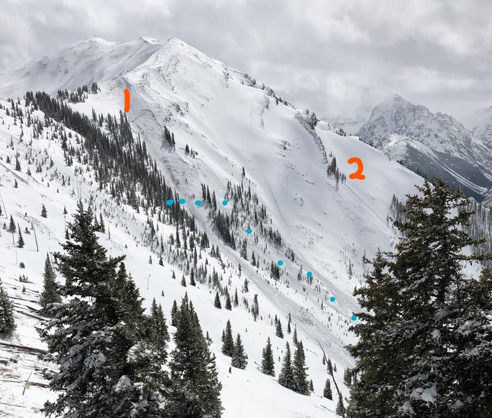 <b>Figure 1:</b> Upper Maroon Bowl on April 8. Several avalanches near the orange 1 were triggered by Aspen Highlands Ski Patrol on the morning of April 8. The skiers descended along the blue dots, and began ascending the slopes far below the orange 2. The avalanche labeled with the orange 2 is the site of the fatal accident. (<a href=javascript:void(0); onClick=win=window.open('https://caic-production.imgix.net/xvv3cdfaf2862smfcfw6a69m7h21?ixlib=php-3.1.0&s=6280832a2041d51e2315331c81a03573','caic_media','resizable=1,height=820,width=840,scrollbars=yes');win.focus();return false;>see full sized image</a>)