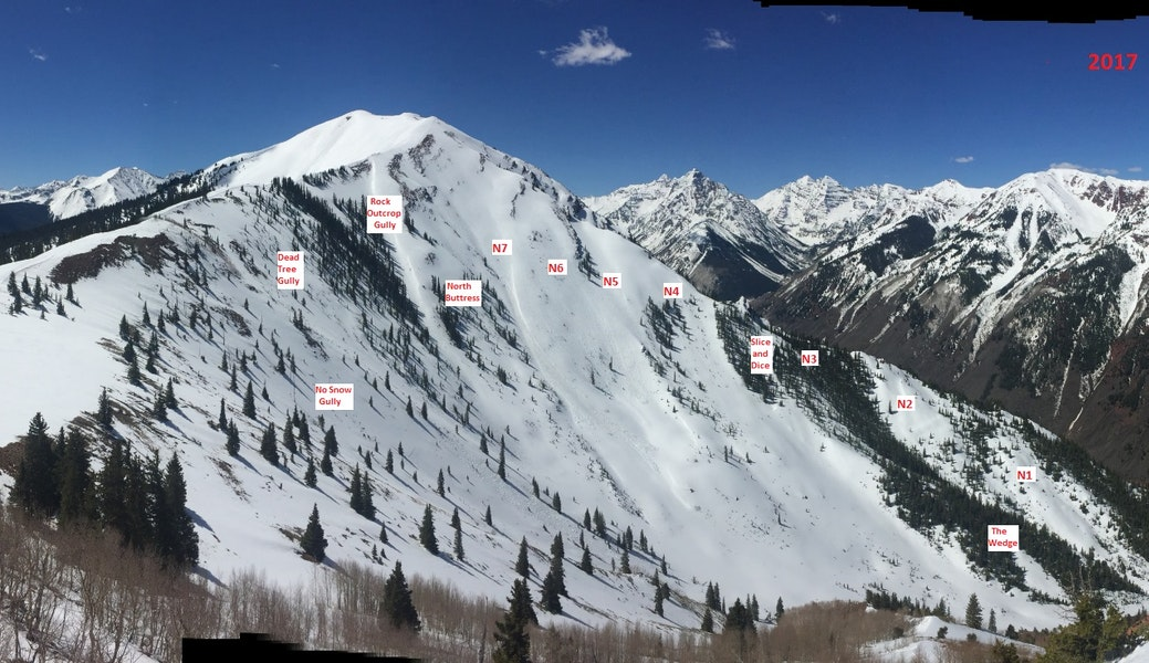 <b>Figure 5:</b> Named avalanche paths in Maroon Bowl (Courtesy Aspen Highlands Ski Patrol). (<a href=javascript:void(0); onClick=win=window.open('https://caic-production.imgix.net/xzgx6cv78kvs7euti7bgn380a5ys?ixlib=php-3.1.0&s=1b0d4d469c43310f133fc1d712f08692','caic_media','resizable=1,height=820,width=840,scrollbars=yes');win.focus();return false;>see full sized image</a>)