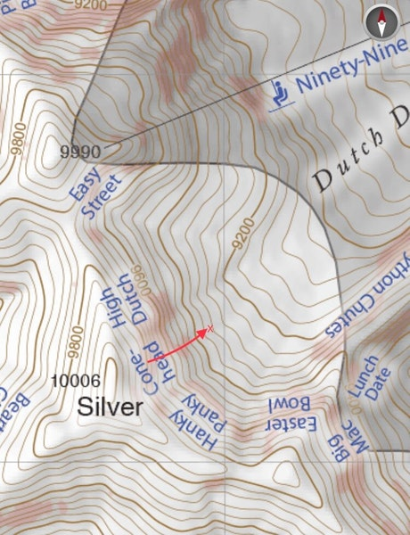 <b>Figure 5:</b> Photo of the terrain and slide path. The map from the Wasatch Backcountry Skiing Map (<a href=javascript:void(0); onClick=win=window.open('https://caic-production.imgix.net/y3qyf3paui2wfbnqxoisuqvp06qw?ixlib=php-3.1.0&s=7bcf69be319115d2436a8586eb4c1857','caic_media','resizable=1,height=820,width=840,scrollbars=yes');win.focus();return false;>see full sized image</a>)