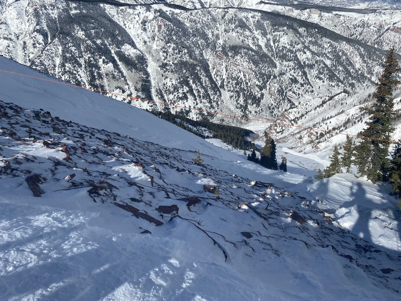 <b>Figure 2:</b> Wind Slab avalanche in Maroon Bowl. Not very big but it ran a long way, maybe 1000 vertical feet. Debris is visible down in the flatter area of the lower path. Feb 7, 2020 (<a href=javascript:void(0); onClick=win=window.open('https://caic-production.imgix.net/z2z1klht4sxg4frvxt4hfgz1lrd5?ixlib=php-3.1.0&s=294bd67a8c8cedcb878788bd9cafb674','caic_media','resizable=1,height=820,width=840,scrollbars=yes');win.focus();return false;>see full sized image</a>)