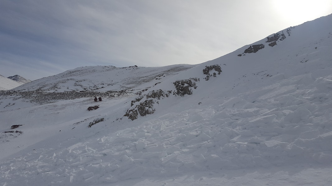 <b>Figure 4:</b> The upper portions of debris field. Skier 1 triggered the avalanche as he approached the rock band on the far side of the avalanche. (<a href=javascript:void(0); onClick=win=window.open('https://caic-production.imgix.net/zawagfiny90hubbxelt942bhfc6b?ixlib=php-3.1.0&s=af395adcba52446dbf353e98ea3dd7e6','caic_media','resizable=1,height=820,width=840,scrollbars=yes');win.focus();return false;>see full sized image</a>)