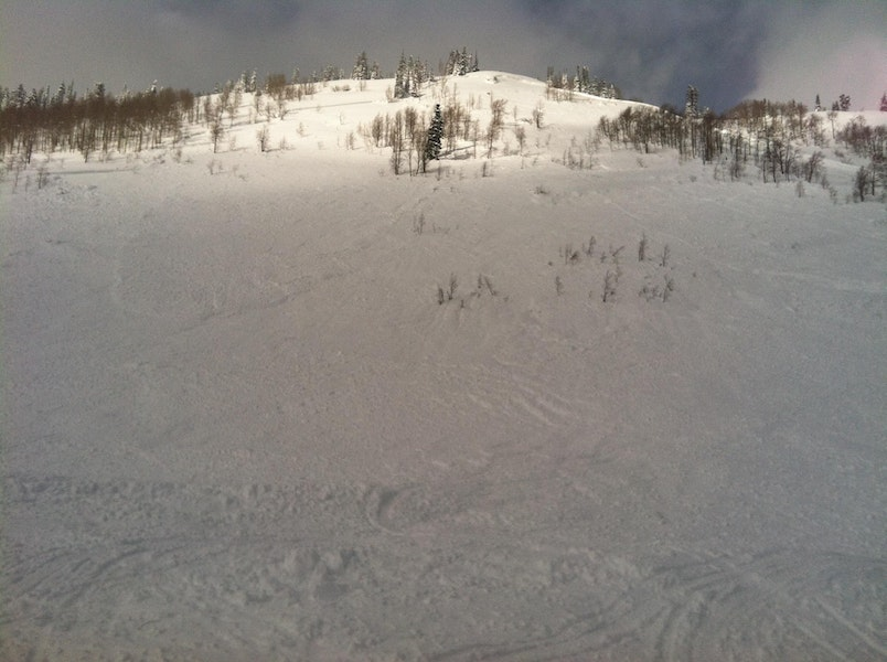 <b>Figure 1:</b> Looking up at the avalanche crown, 2/11. The avalanche was about 600 feet wide, 3 feet deep, and ran 750 vertical feet. (<a href=javascript:void(0); onClick=win=window.open('https://caic-production.imgix.net/zk1gqi3xgemw6eeo8jqnerva2btz?ixlib=php-3.1.0&s=b1916d8e2624b09ab2c4745d6be01470','caic_media','resizable=1,height=820,width=840,scrollbars=yes');win.focus();return false;>see full sized image</a>)