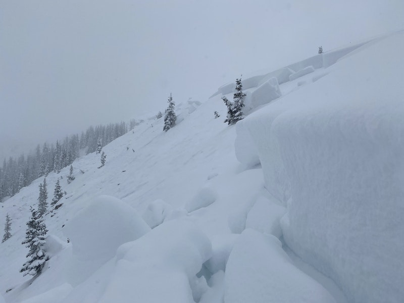 <b>Figure 10:</b> Looking southeast along the crown of the avalanche. The avalanche broke around 3 feet deep. (<a href=javascript:void(0); onClick=win=window.open('https://caic-production.imgix.net/zmgjxktxrff55h9k6wh9g408nyej?ixlib=php-3.1.0&s=52c4e7d7fd019320502130bab0e5c1cd','caic_media','resizable=1,height=820,width=840,scrollbars=yes');win.focus();return false;>see full sized image</a>)
