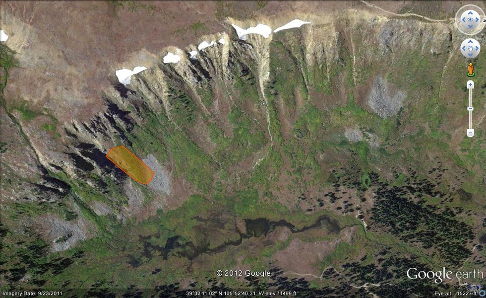 <b>Figure 1:</b> Deer Creek Drainage from Google Earth. Orange shaded area outlines the approximate area of the hard-slab avalanche. (<a href=javascript:void(0); onClick=win=window.open('https://caic-production.imgix.net/zmvh6g2bvmg27tsir79gnyjhtfv2?ixlib=php-3.1.0&s=c99a5d900e3e5d7922c21ece05ff2ed2','caic_media','resizable=1,height=820,width=840,scrollbars=yes');win.focus();return false;>see full sized image</a>)