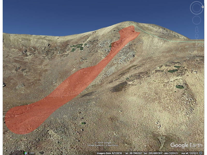 <b>Figure 4:</b> A Google Earth image of the accident site. The red polygon shows the approximate location of the avalanche. (Courtesy of Dale Atkins). (<a href=javascript:void(0); onClick=win=window.open('https://caic-production.imgix.net/zynp5kdrxeaha5wr9jit4f7u9aj3?ixlib=php-3.1.0&s=e149019cf26360e9354173759cc8b6e6','caic_media','resizable=1,height=820,width=840,scrollbars=yes');win.focus();return false;>see full sized image</a>)